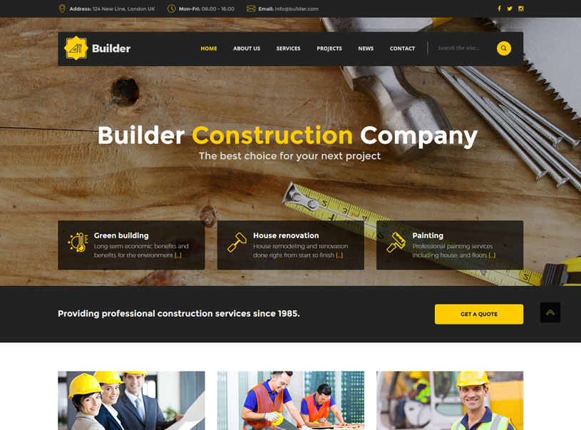 tradesmen websites template image